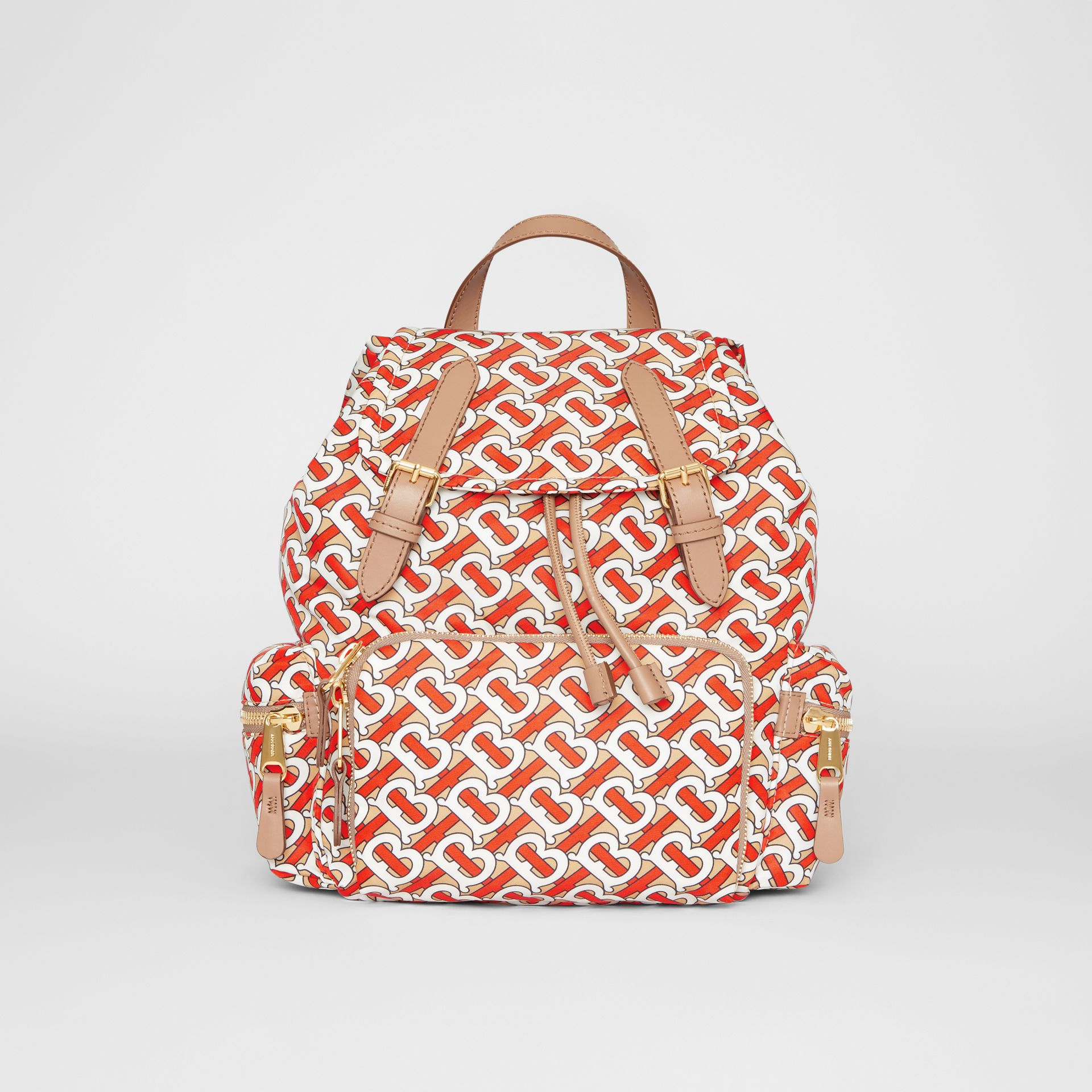 The Medium Rucksack in Monogram Print Nylon in Vermilion - Women | Burberry Canada - gallery image 0