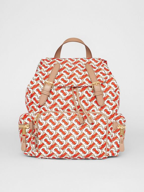 The Medium Rucksack in Monogram Print Nylon in Vermilion