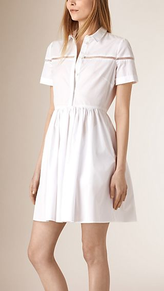 Lace Detail Cotton Shirt Dress