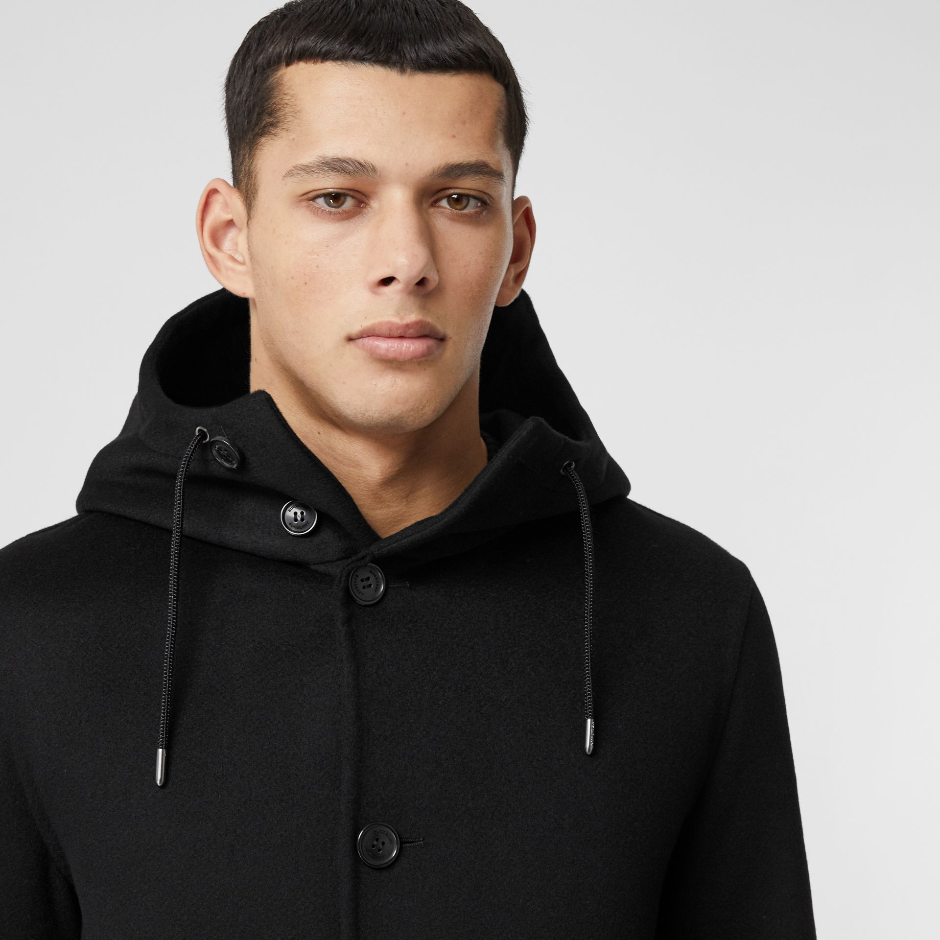 Double-faced Cashmere Hooded Coat in Black - Men | Burberry United Kingdom - gallery image 1