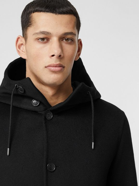 Double-faced Cashmere Hooded Coat in Black - Men | Burberry United Kingdom - cell image 1