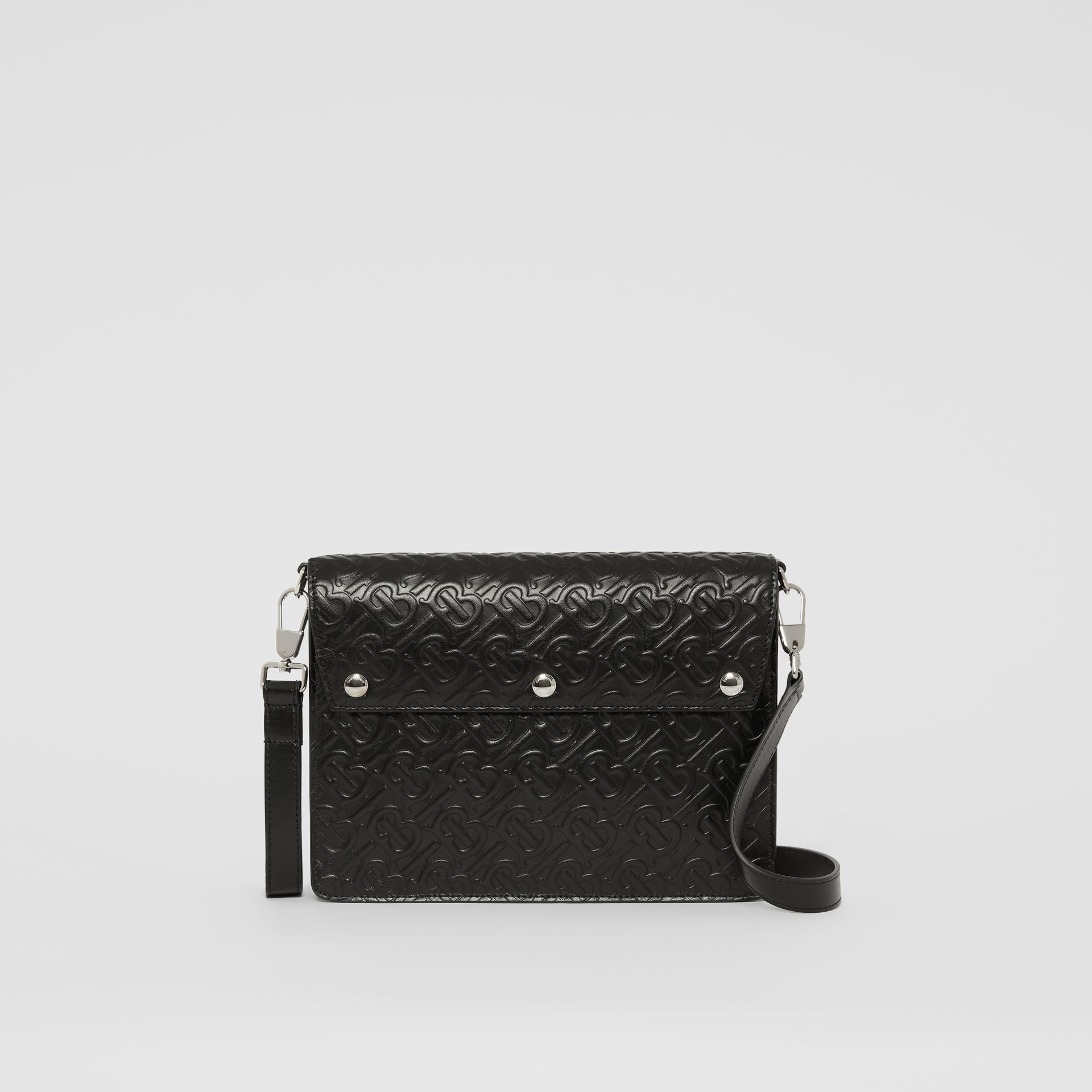 Triple Stud Monogram Leather Crossbody Bag in Black - Men | Burberry - gallery image 0