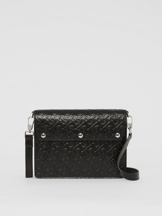 Triple Stud Monogram Leather Crossbody Bag in Black
