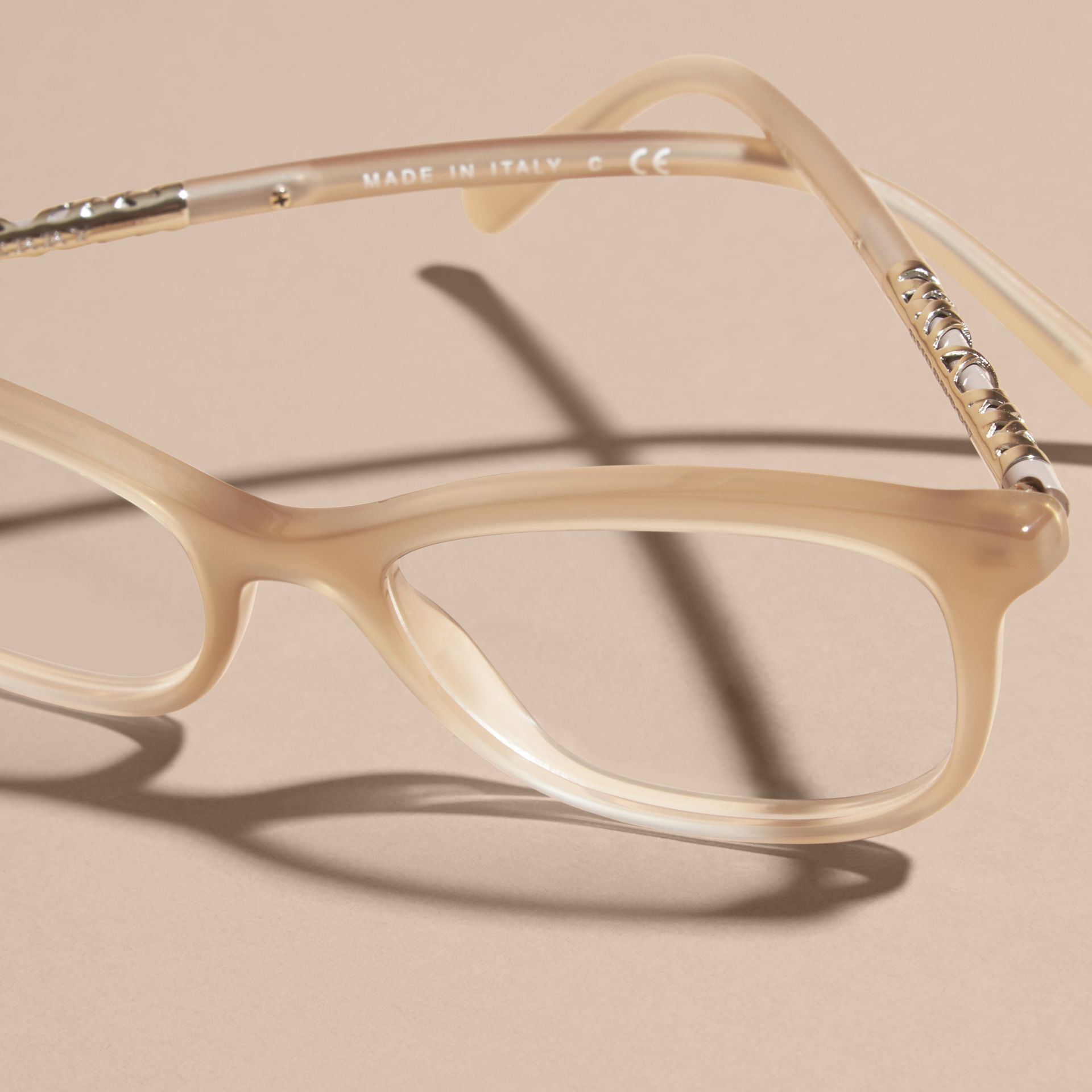 Chino grey Check Detail Oval Optical Frames Chino Grey - gallery image 3