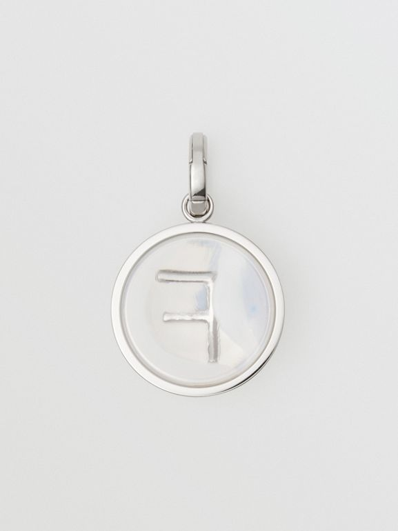 Marbled Resin 'F' Alphabet Charm in Palladio/nacre - Women | Burberry - cell image 1