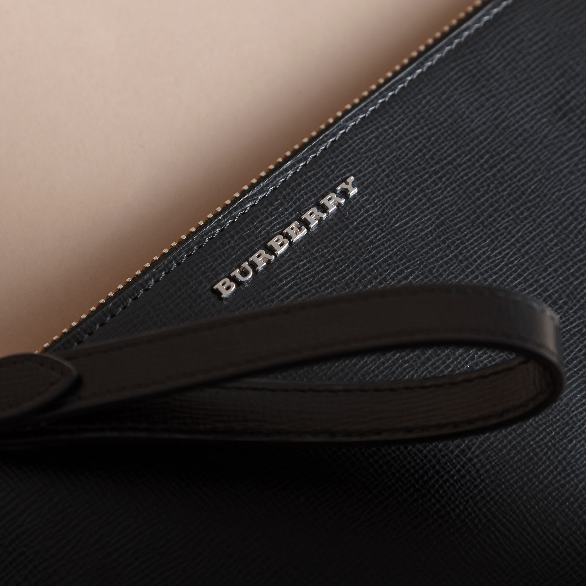 London Leather Travel Wallet in Black | Burberry - gallery image 1
