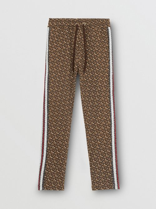 0872aff6f7 Monogram Stripe Print Cotton Trackpants in Brown