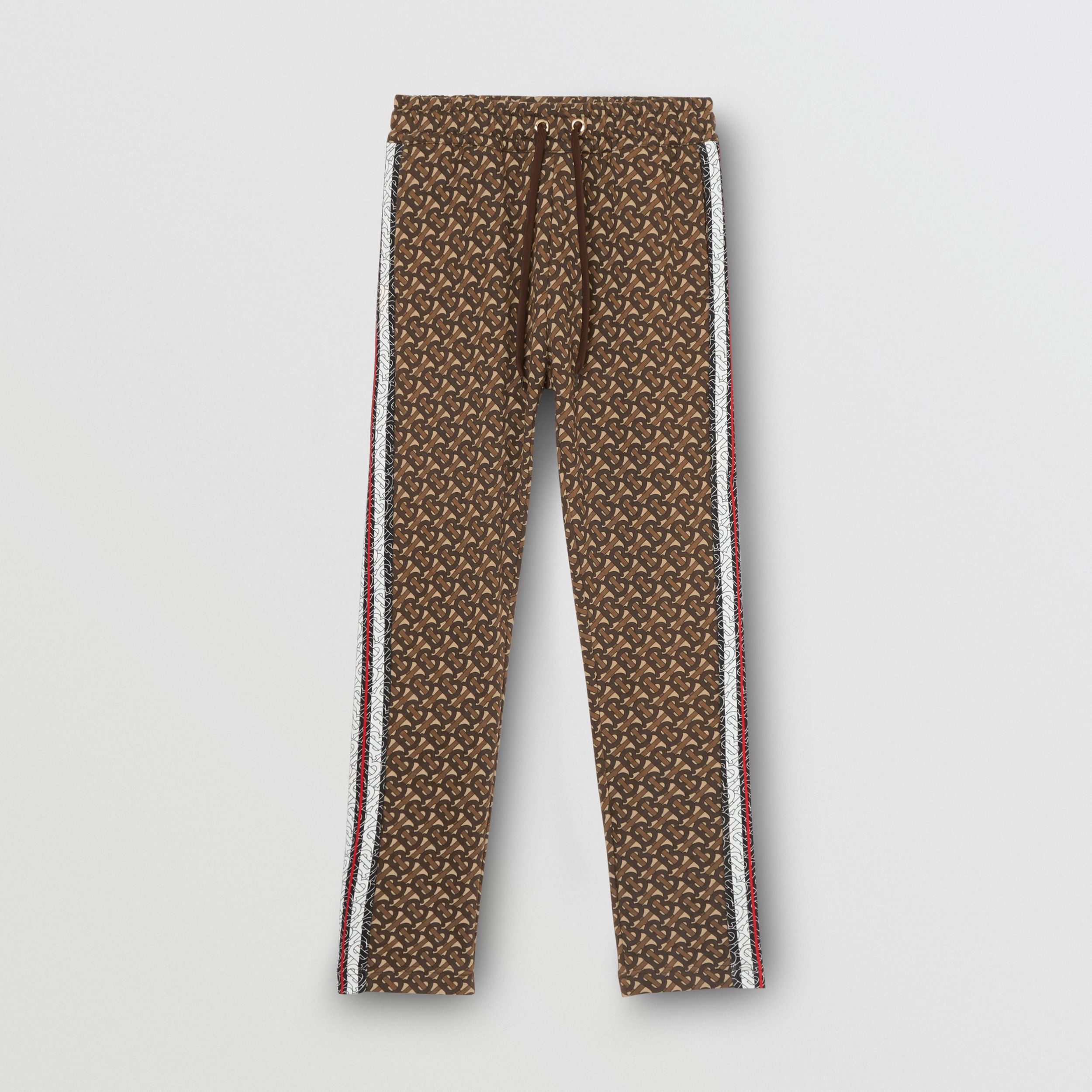 Monogram Stripe Print Cotton Trackpants in Bridle Brown - Women | Burberry - 3