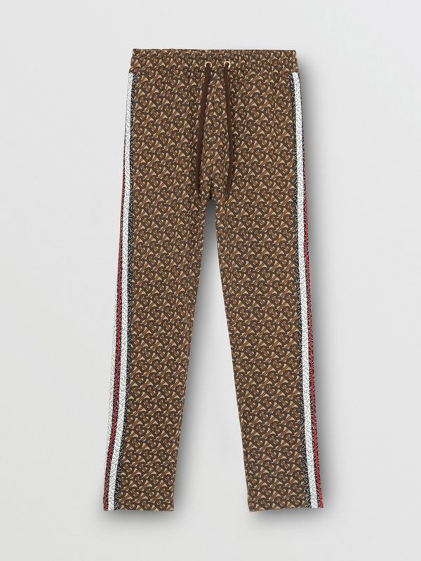 Monogram Stripe Print Cotton Trackpants in Bridle Brown - Women | Burberry Canada - cell image 2