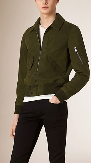 Nubuck Bomber Jacket with Packaway Hood
