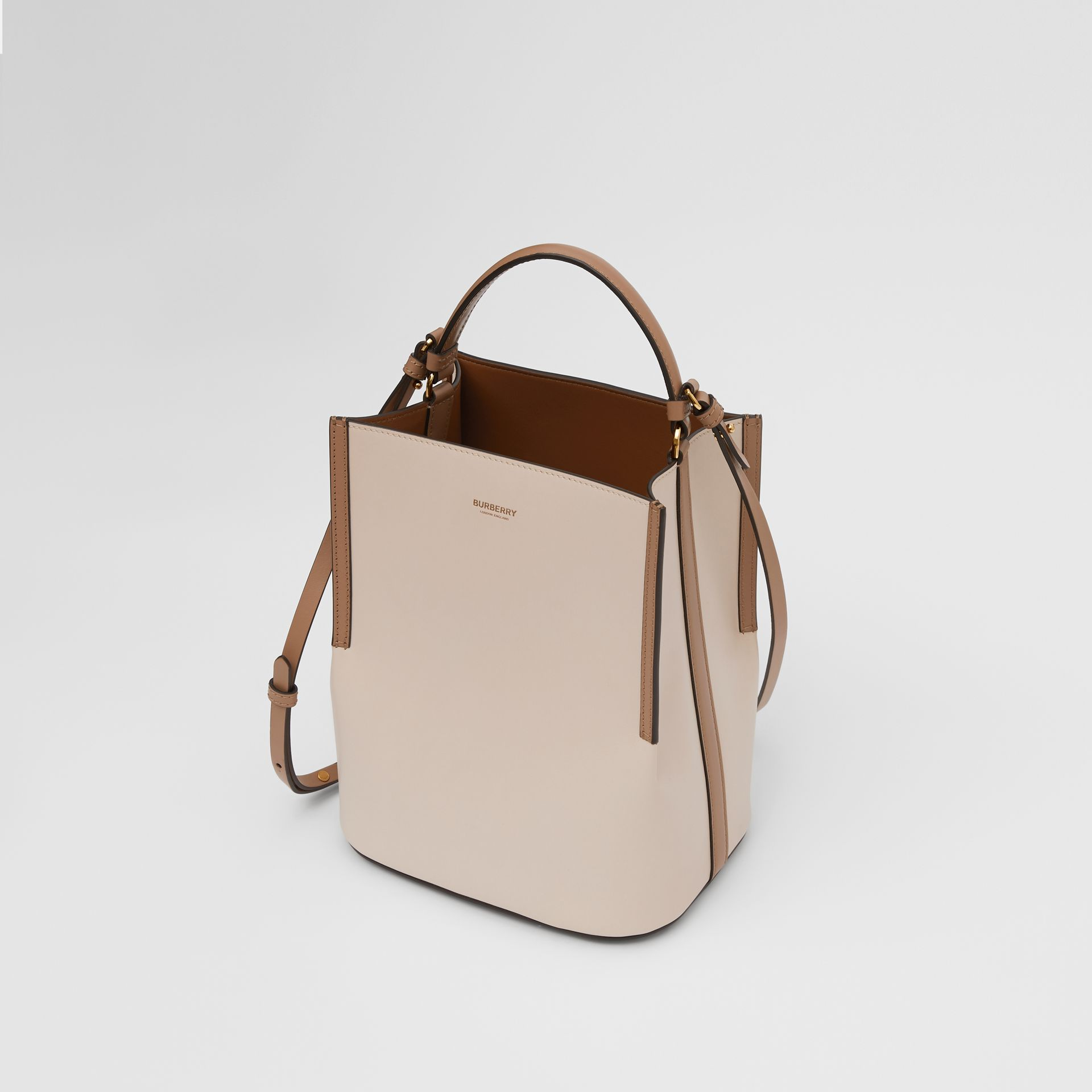 Small Two-tone Leather Peggy Bucket Bag in Buttermilk - Women | Burberry - gallery image 2