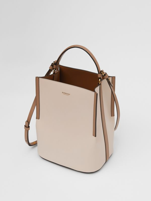 Small Two-tone Leather Peggy Bucket Bag in Buttermilk - Women | Burberry - cell image 2