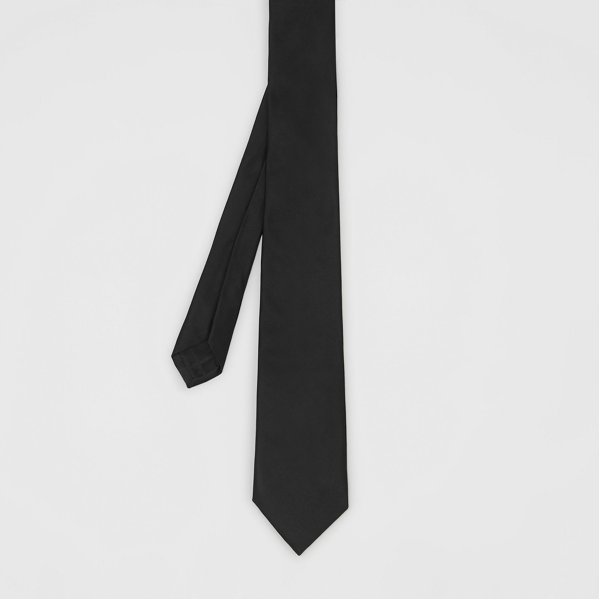 Modern Cut Silk Satin Tie in Black - Men | Burberry United Kingdom - gallery image 2