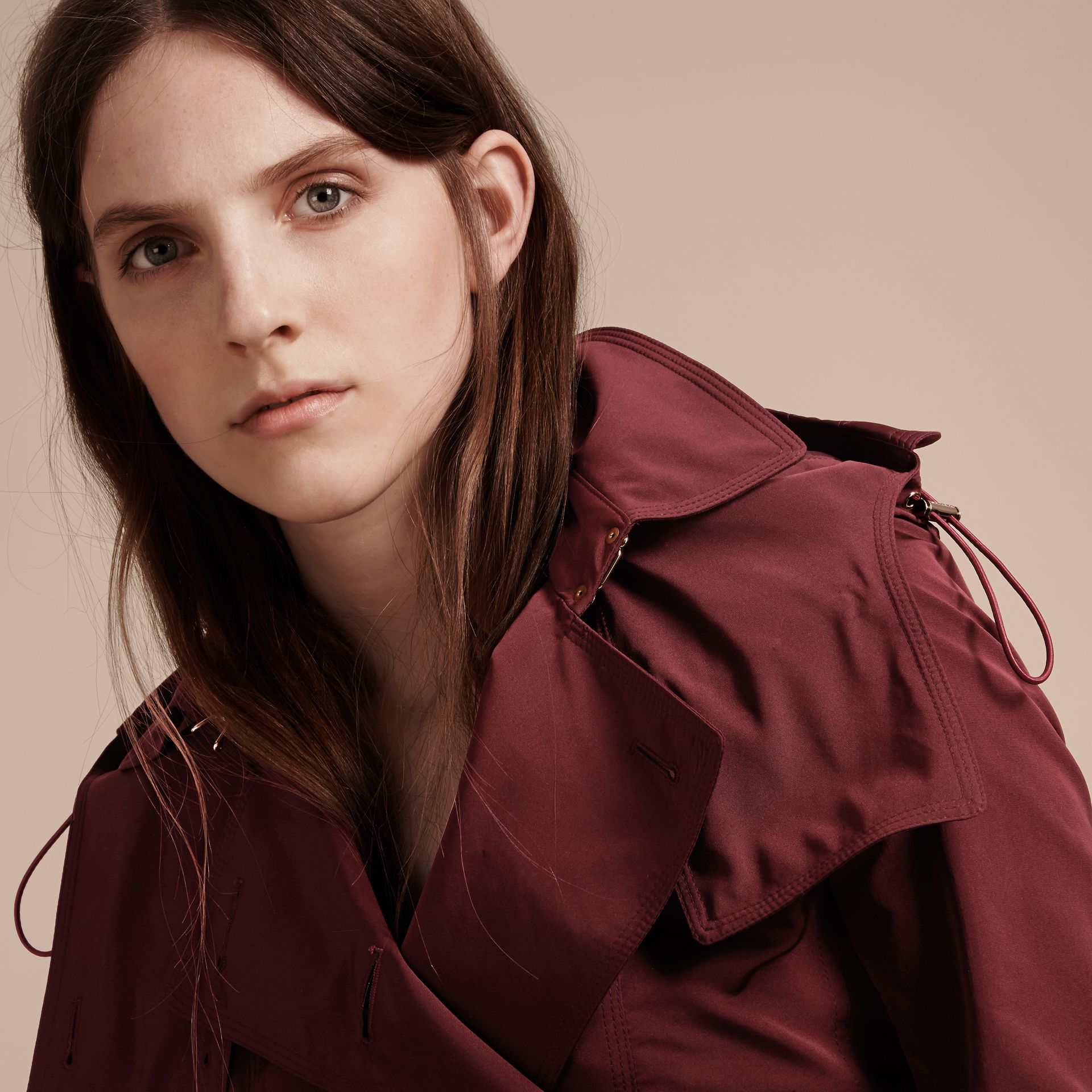 Deep claret Showerproof Taffeta Trench Jacket with Detachable Hood Deep Claret - gallery image 5