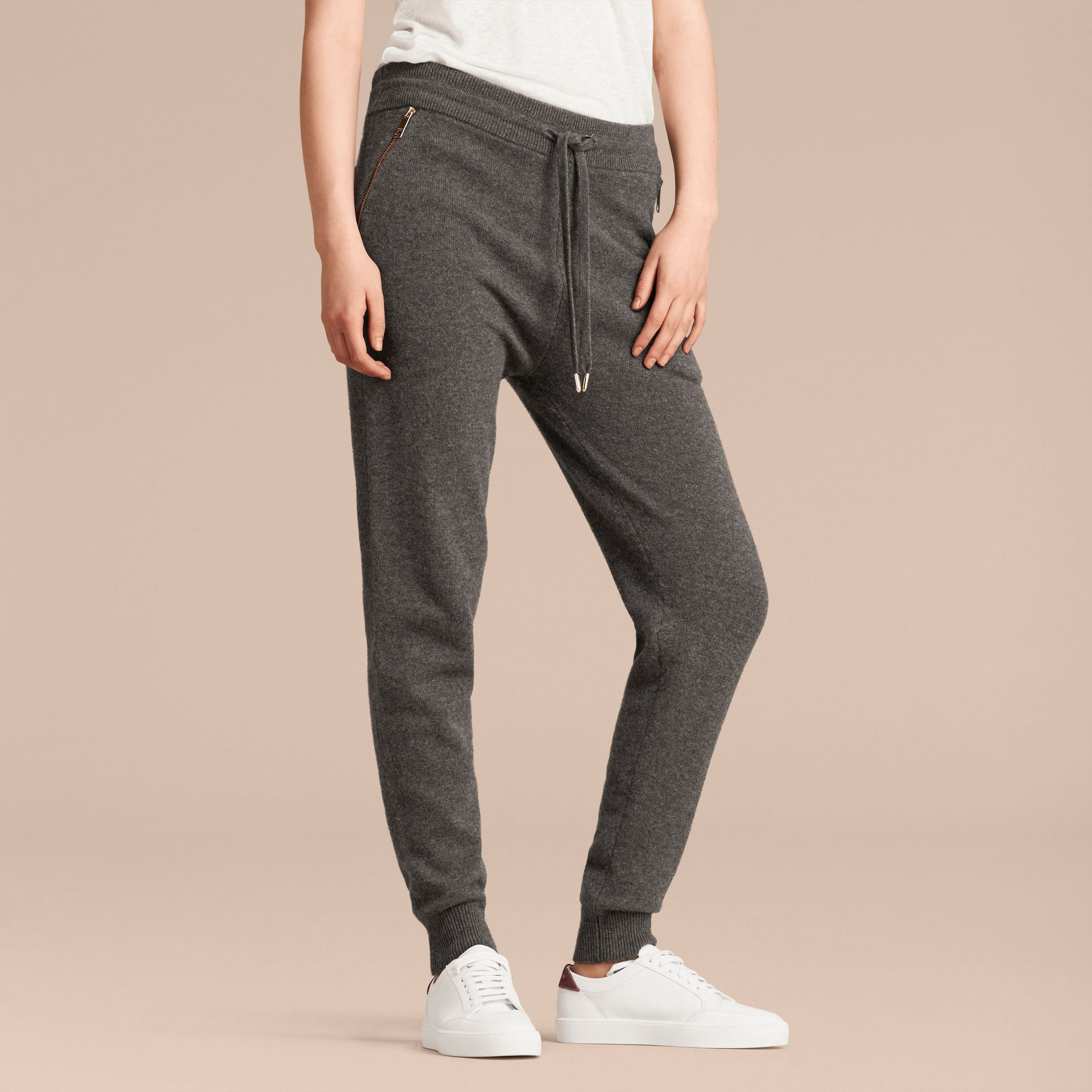 Dark grey melange Knitted Cashmere Cotton Joggers - gallery image 9