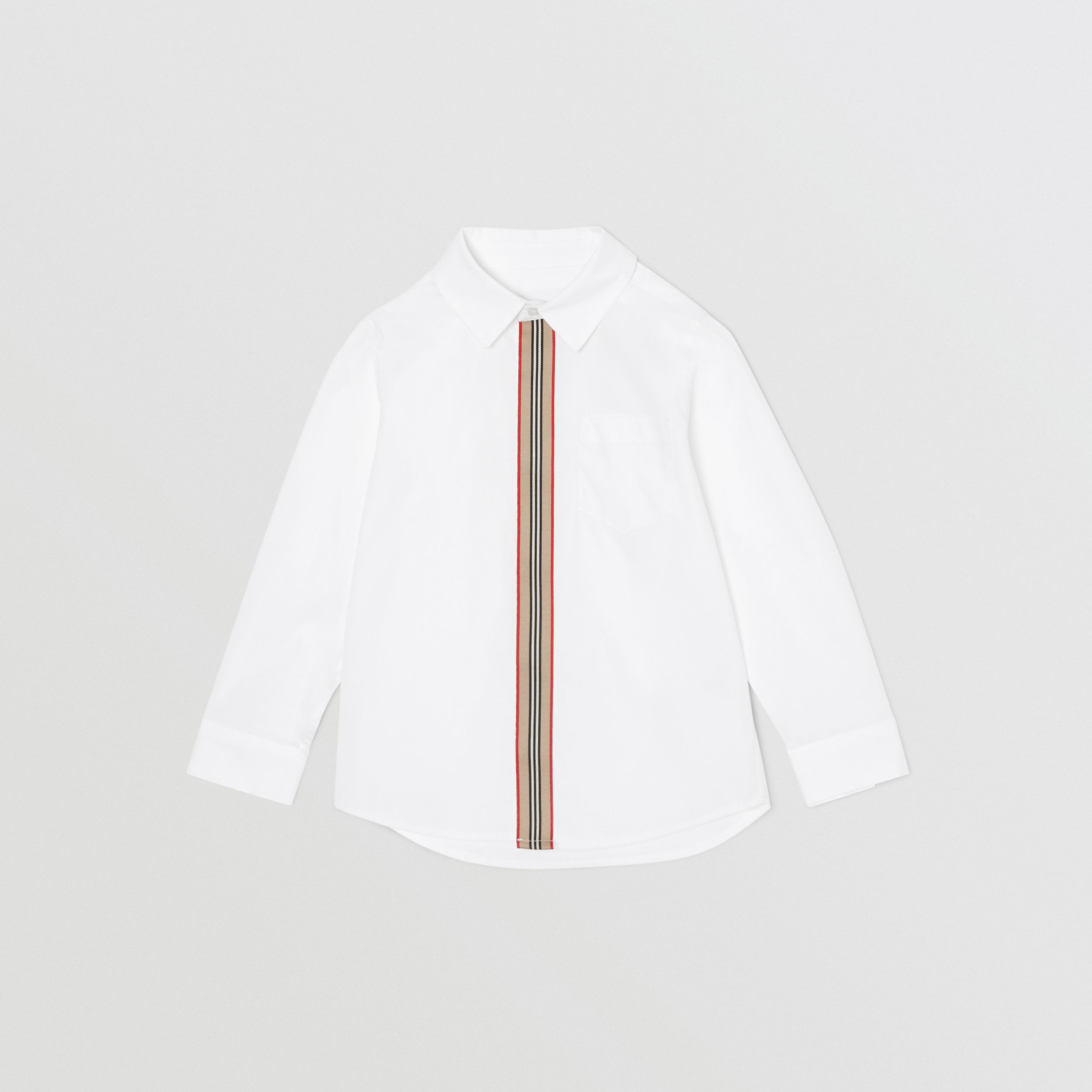 Icon Stripe Trim Stretch Cotton Shirt in White | Burberry - 1