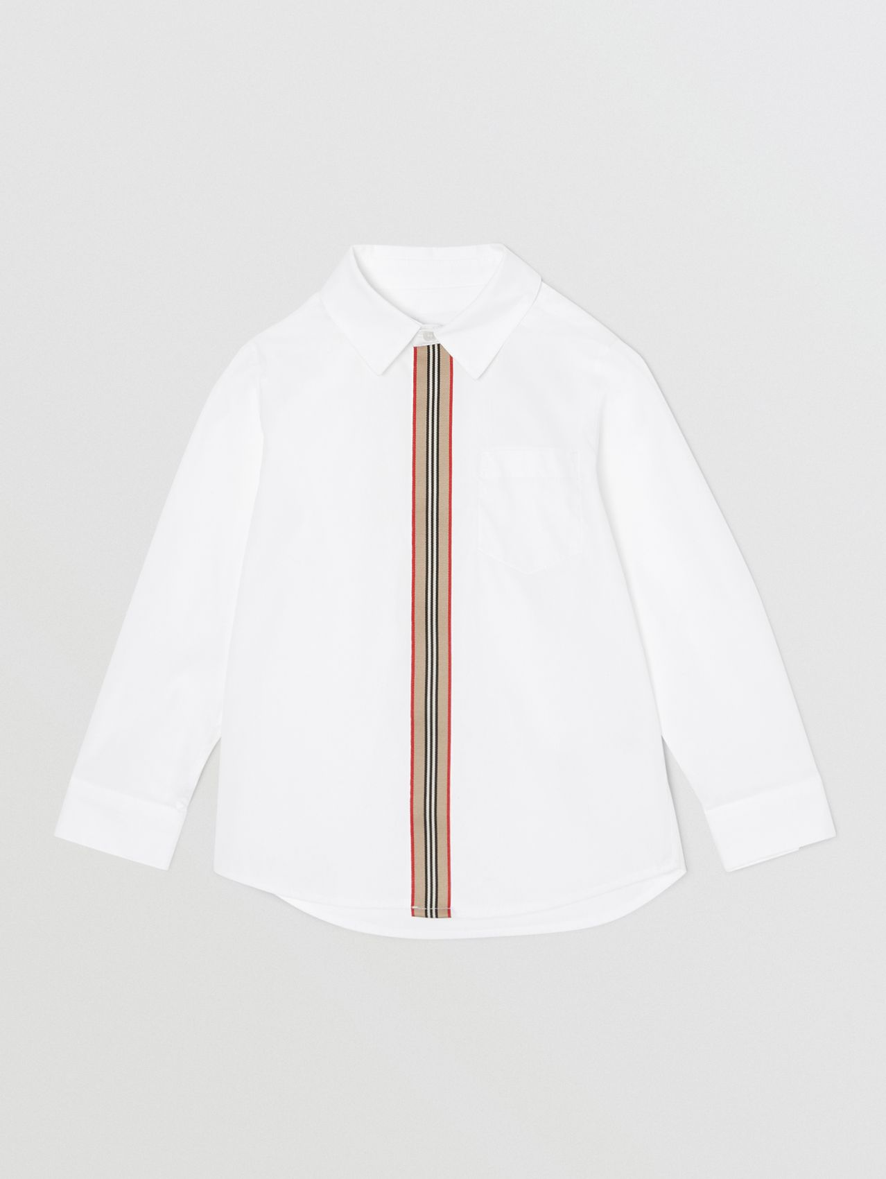Icon Stripe Trim Stretch Cotton Shirt (White)