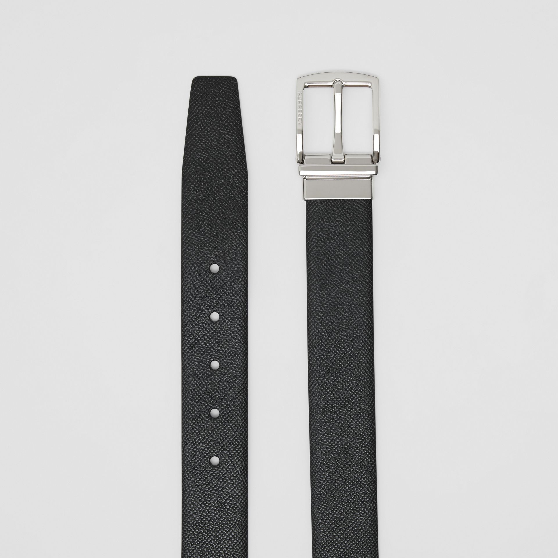 Reversible Grainy Leather Belt in Black/navy - Men | Burberry - gallery image 6