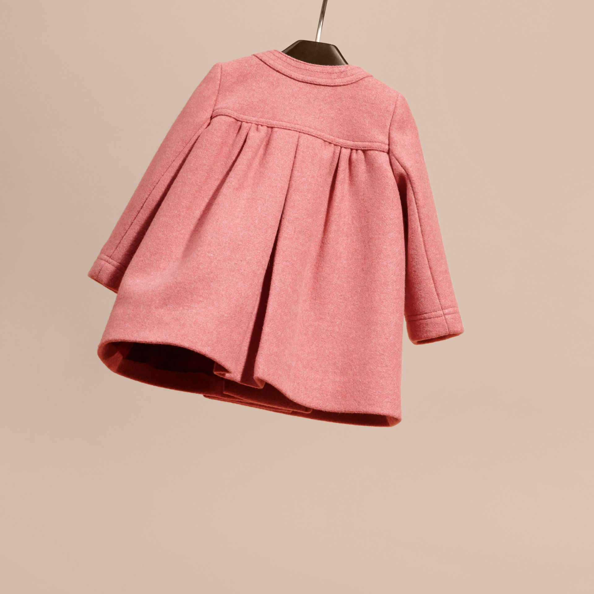 Peony rose melange Bow Detail Wool Cashmere Coat - gallery image 4