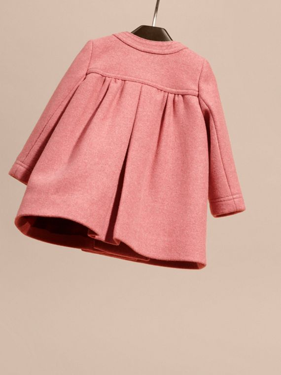 Peony rose melange Bow Detail Wool Cashmere Coat - cell image 3