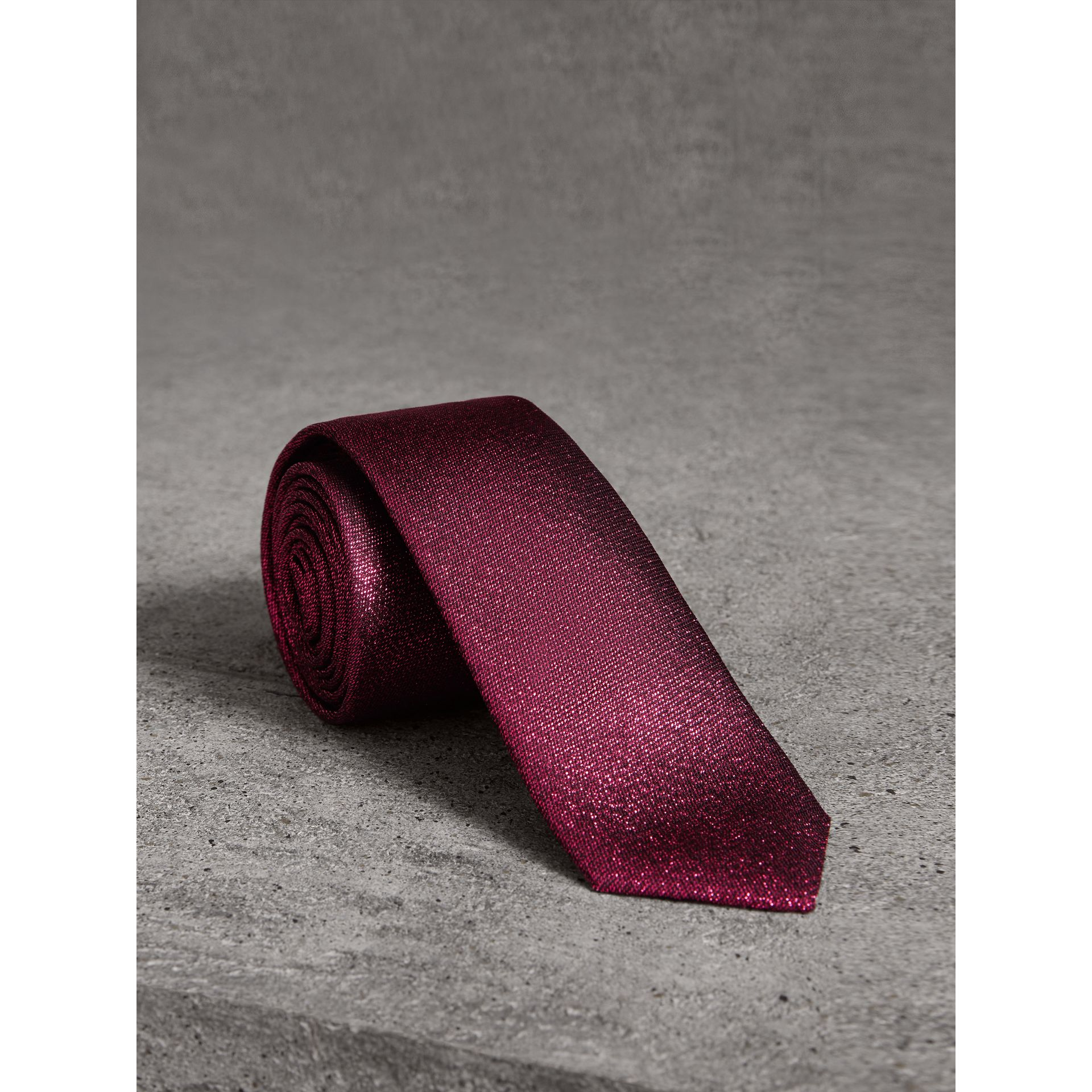 Slim Cut Metallic Silk Blend Tie in Bright Fuschia - Men | Burberry - gallery image 0