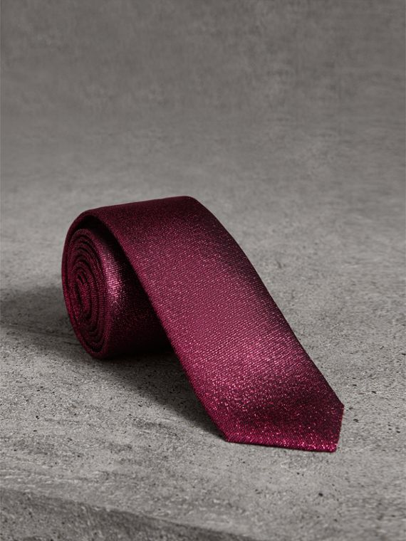 Slim Cut Metallic Silk Blend Tie in Bright Fuschia