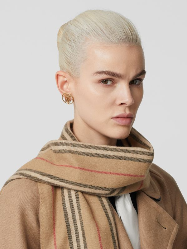 Icon Stripe Cashmere Scarf in Archive Beige | Burberry - cell image 2