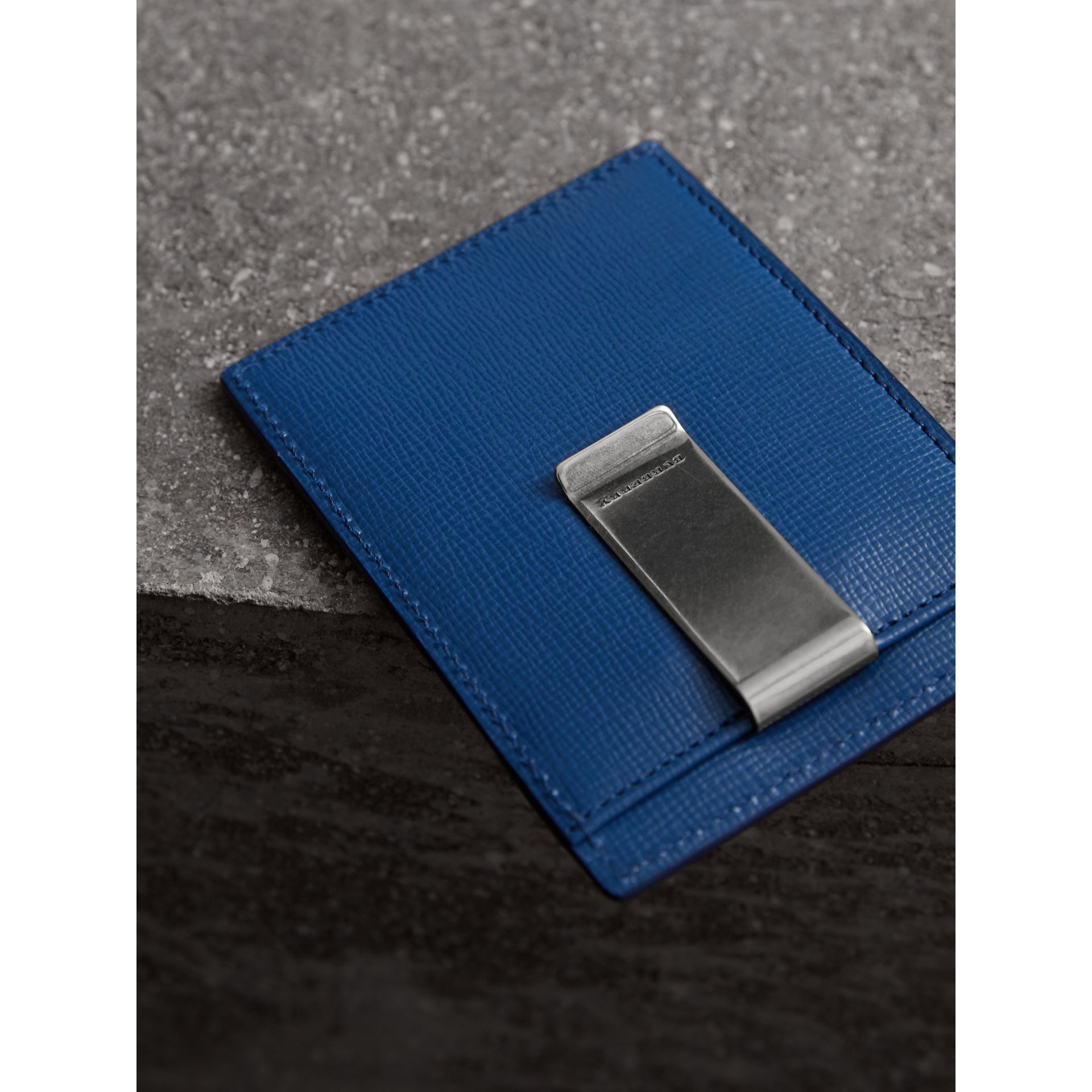 London Leather Money Clip Card Case in Deep Blue - Men | Burberry United States - gallery image 2