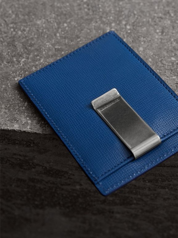 London Leather Money Clip Card Case in Deep Blue - Men | Burberry Singapore - cell image 1