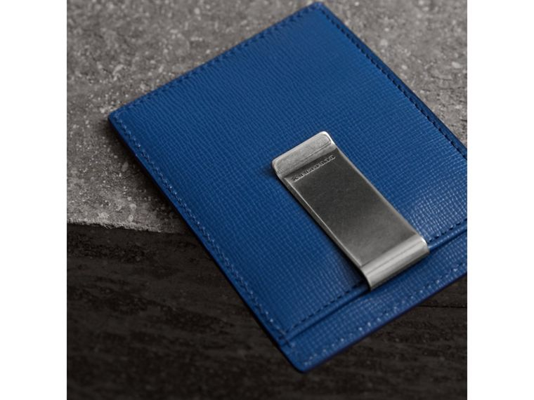 London Leather Money Clip Card Case in Deep Blue - Men | Burberry - cell image 1