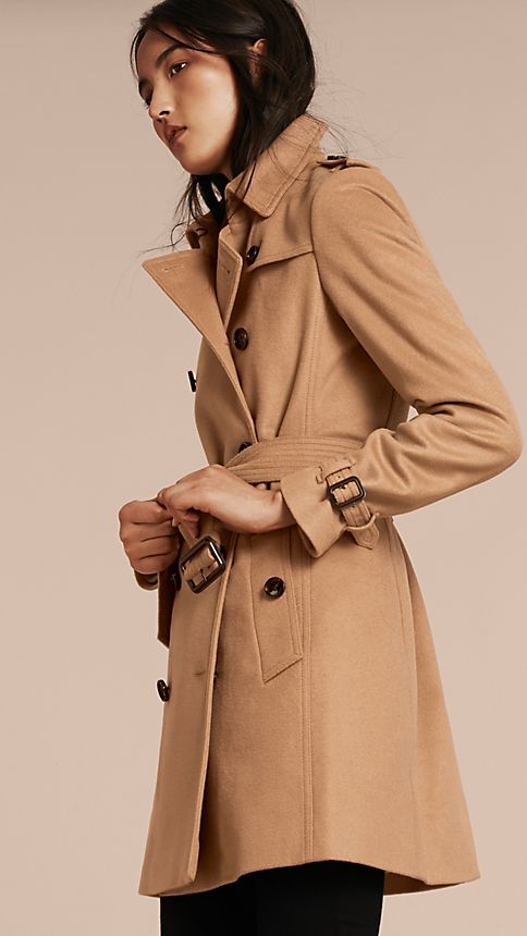 Camel Wool Cashmere Trench Coat - Image 7