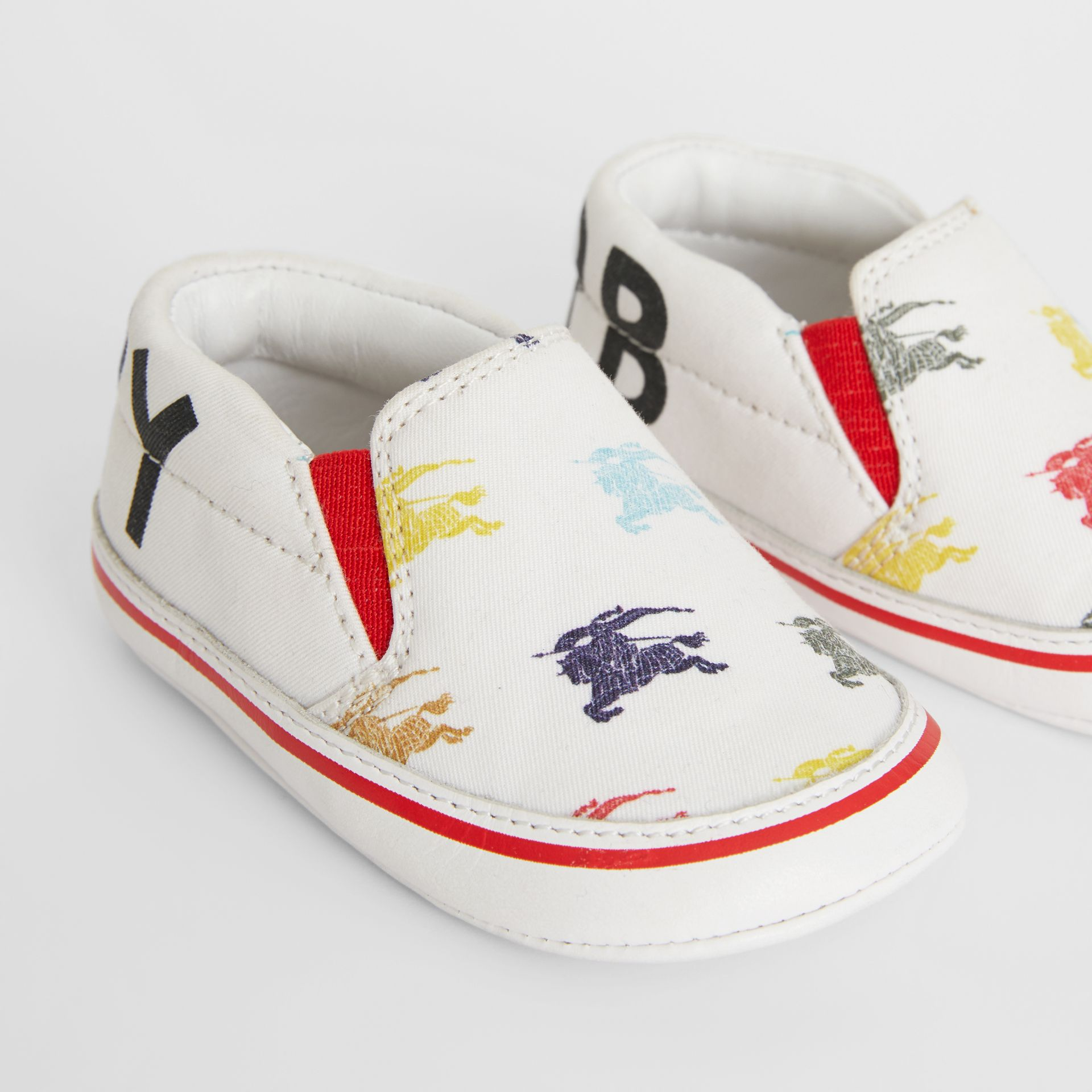 EKD Cotton and Leather Slip-on Sneakers in Optic White - Children | Burberry Canada - gallery image 1