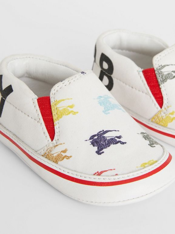 EKD Cotton and Leather Slip-on Sneakers in Optic White - Children | Burberry Canada - cell image 1