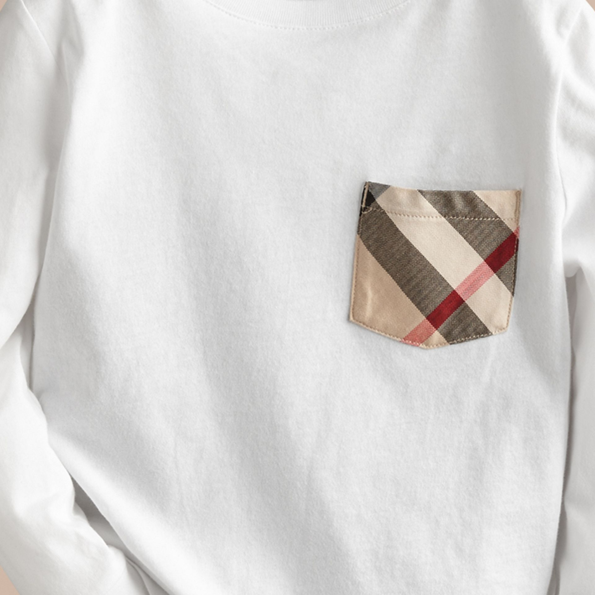 Long-sleeve Check Pocket Cotton T-shirt in White - gallery image 2