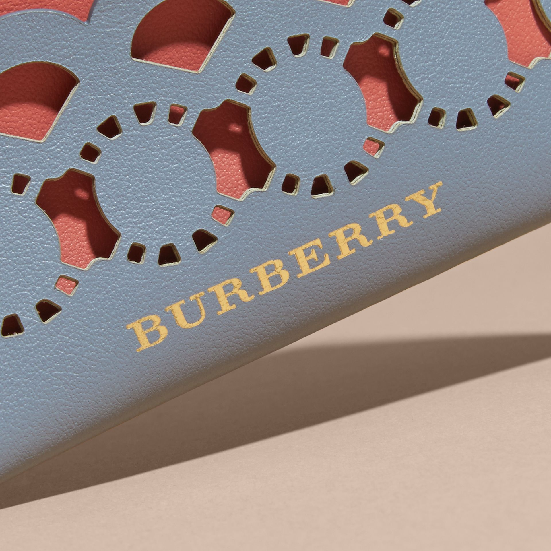 Laser-cut Leather and Haymarket Check Card Case in Slate Blue - Women | Burberry - gallery image 2