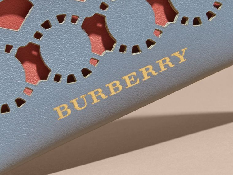 Laser-cut Leather and Haymarket Check Card Case in Slate Blue - Women | Burberry - cell image 1