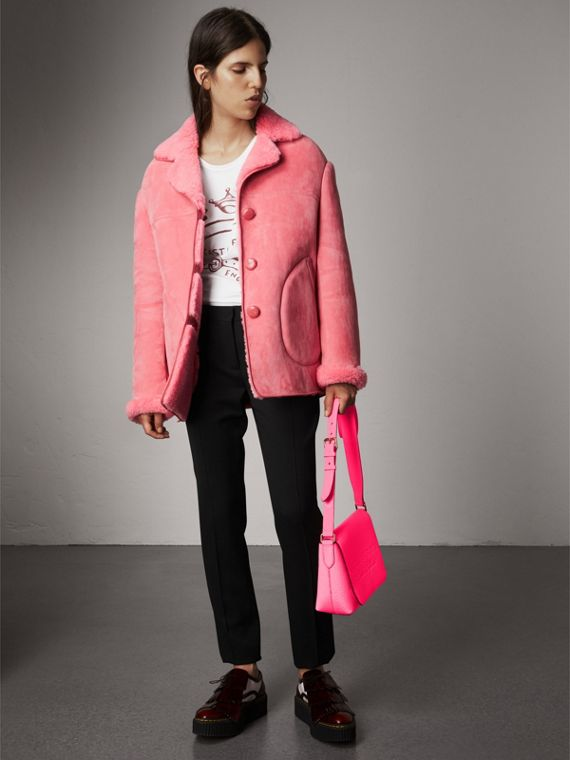 Medium Embossed Leather Messenger Bag in Neon Pink | Burberry - cell image 2