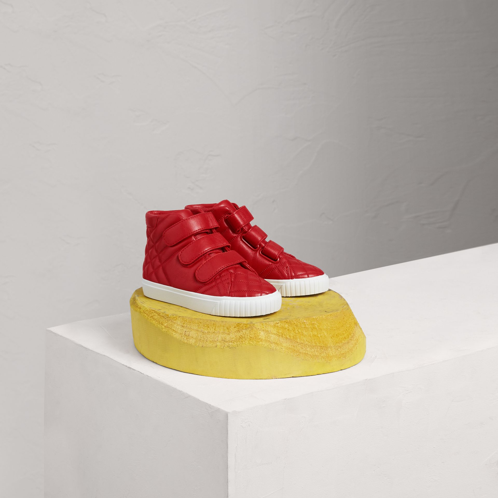 Check-quilted Leather High-top Sneakers in Parade Red   Burberry United States - gallery image 0