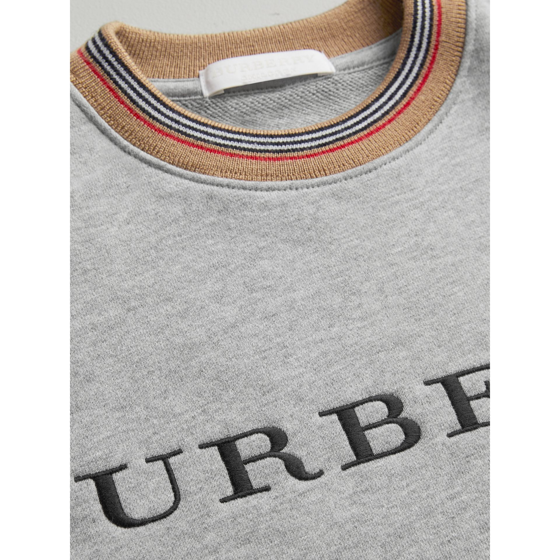 Embroidered Logo Cotton Sweatshirt in Grey Melange - Girl | Burberry - gallery image 1