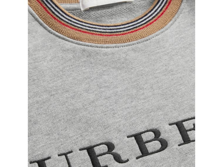 Embroidered Logo Cotton Sweatshirt in Grey Melange - Girl | Burberry Australia - cell image 1