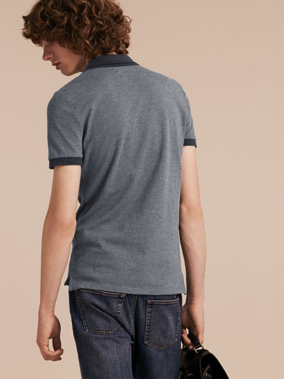 Mid grey melange Contrast Trim Cotton Piqué Polo Shirt Mid Grey Melange - cell image 2