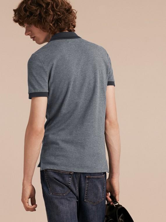 Mid grey melange Camisa polo de algodão piquê com detalhes contrastantes Mid Grey Melange - cell image 2