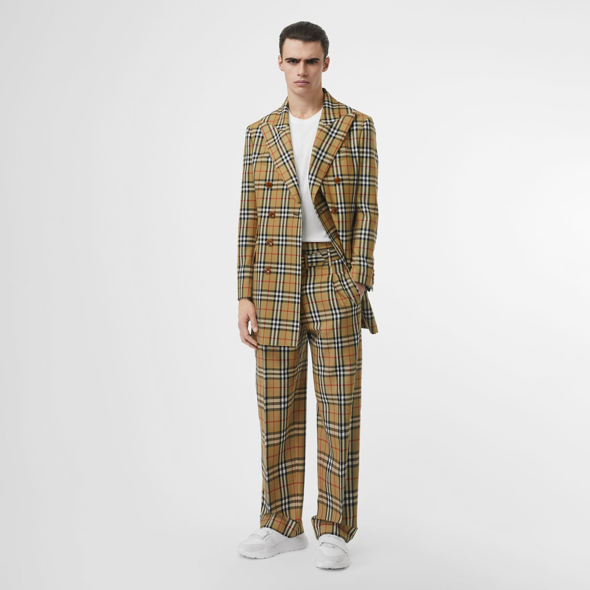 Vintage Check Wool High-waisted Trousers in Antique Yellow - Men | Burberry - gallery image 0