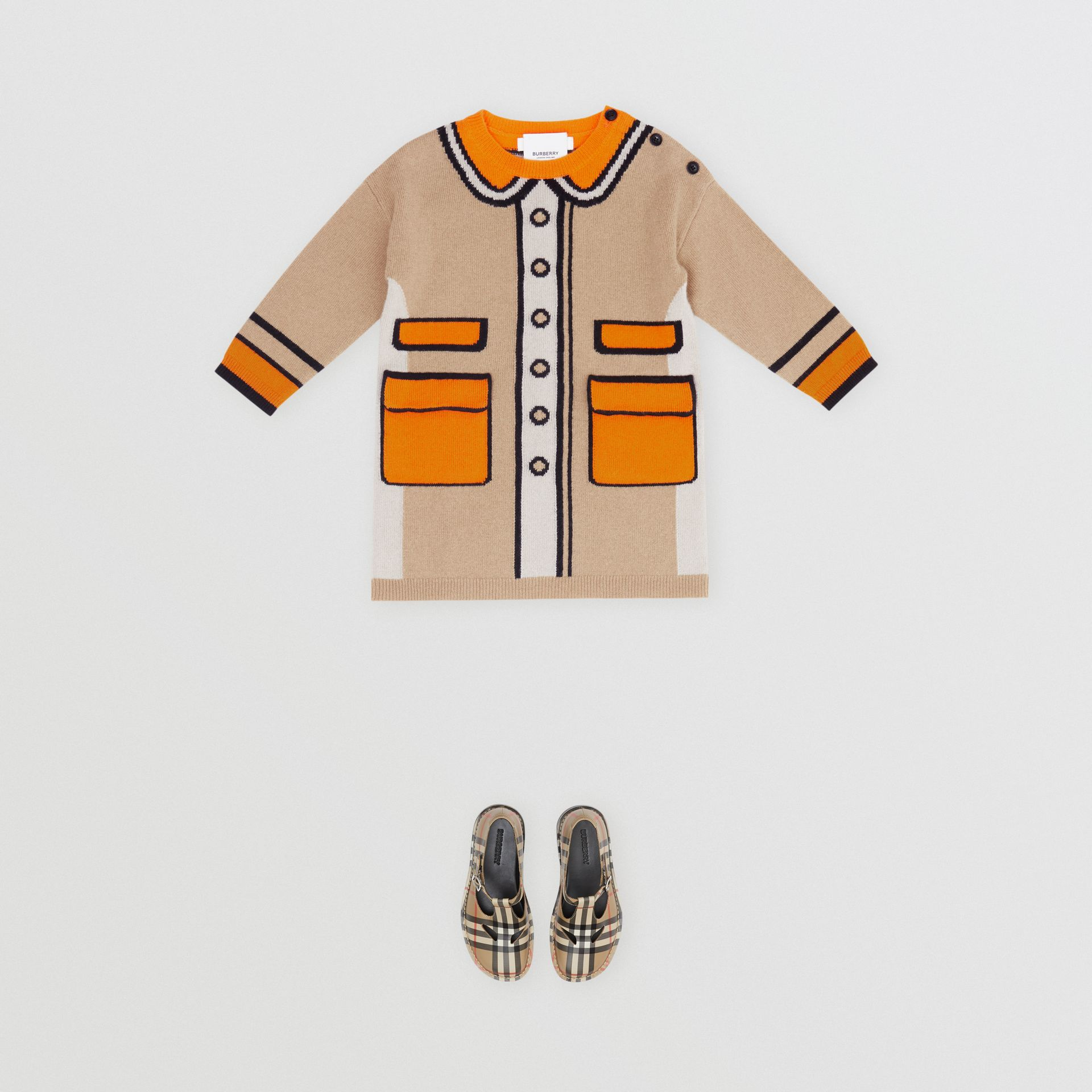 Trompe L'Oeil Intarsia Cashmere Sweater Dress in Archive Beige - Children | Burberry United Kingdom - gallery image 2