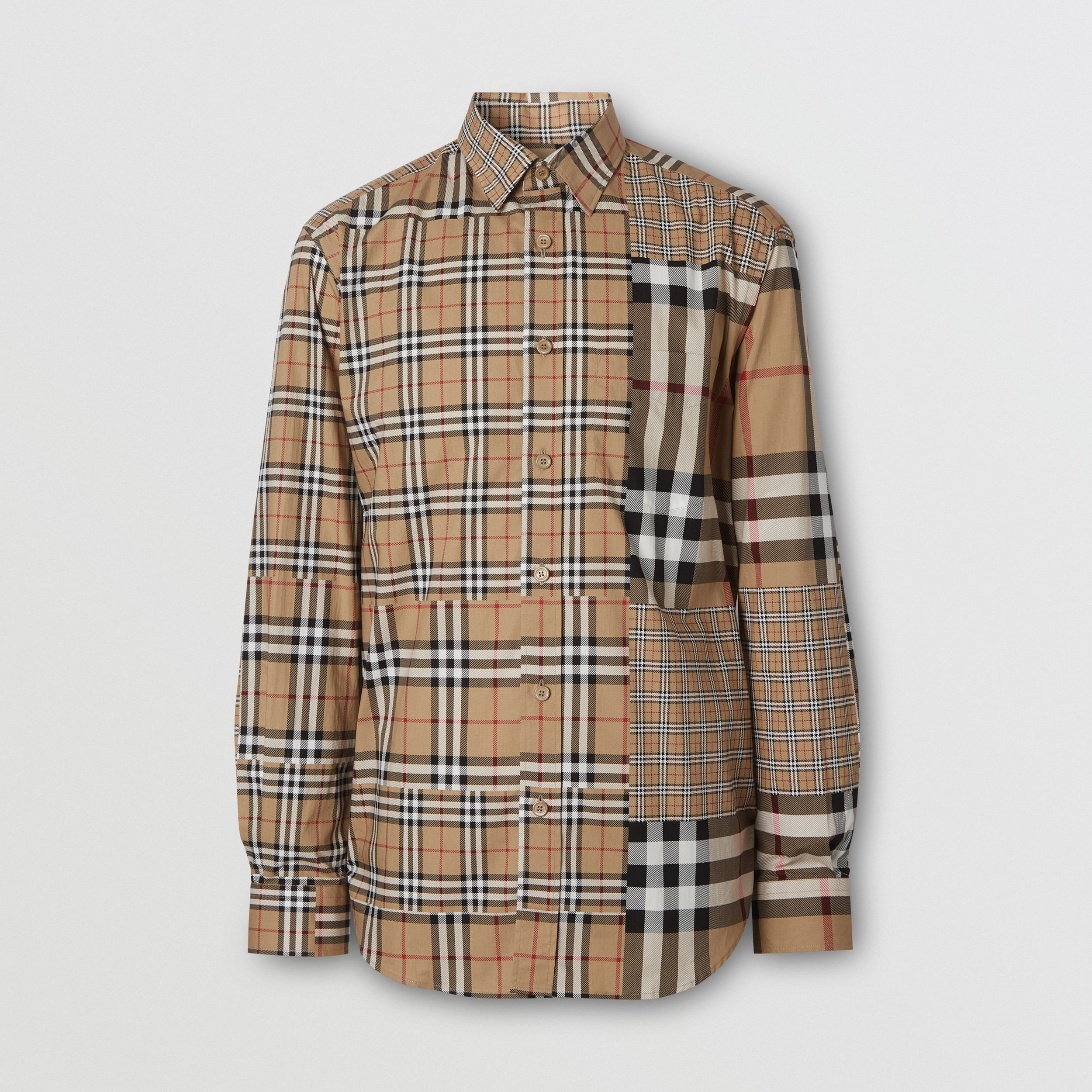 Classic Fit Patchwork Check Cotton Shirt in Archive Beige | Burberry United States - 4