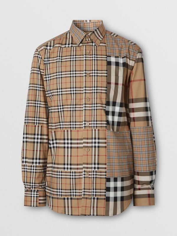 Classic Fit Patchwork Check Cotton Shirt in Archive Beige | Burberry United Kingdom - cell image 3