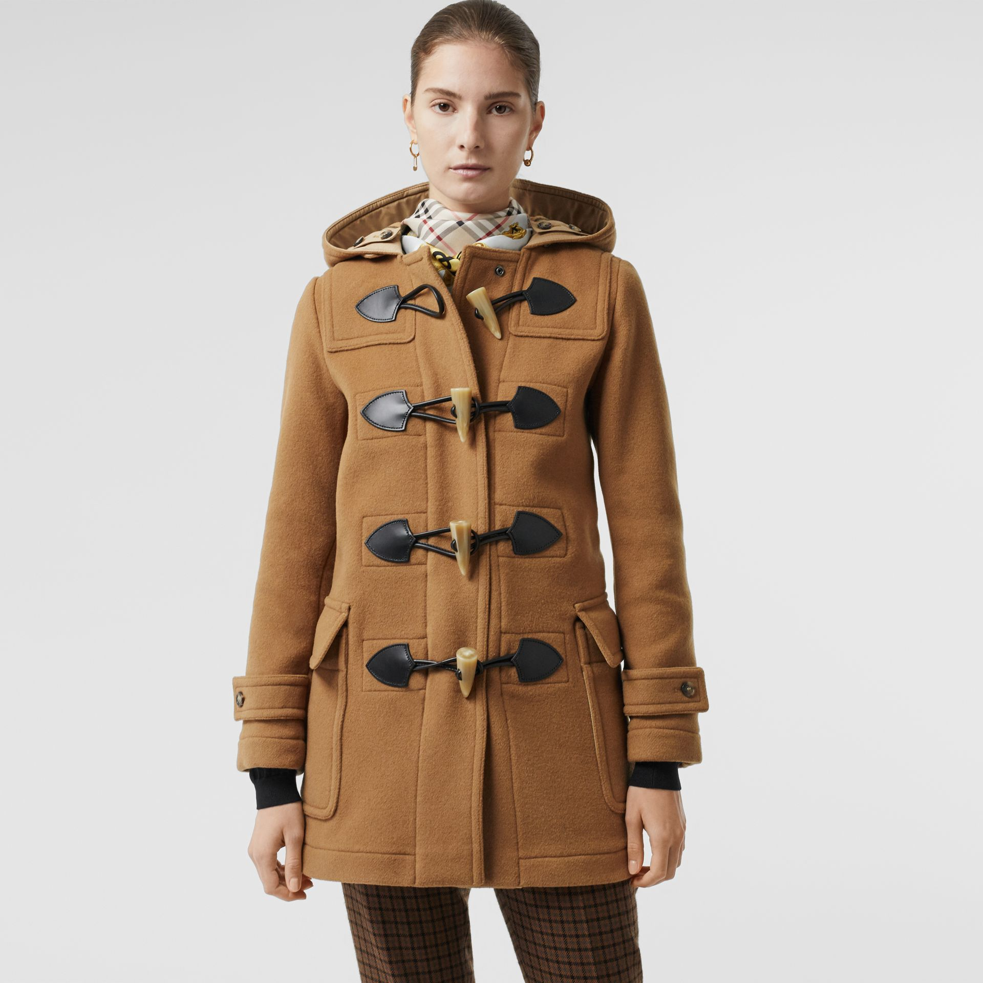 Wool Blend Duffle Coat in Camel - Women | Burberry United Kingdom - gallery image 4