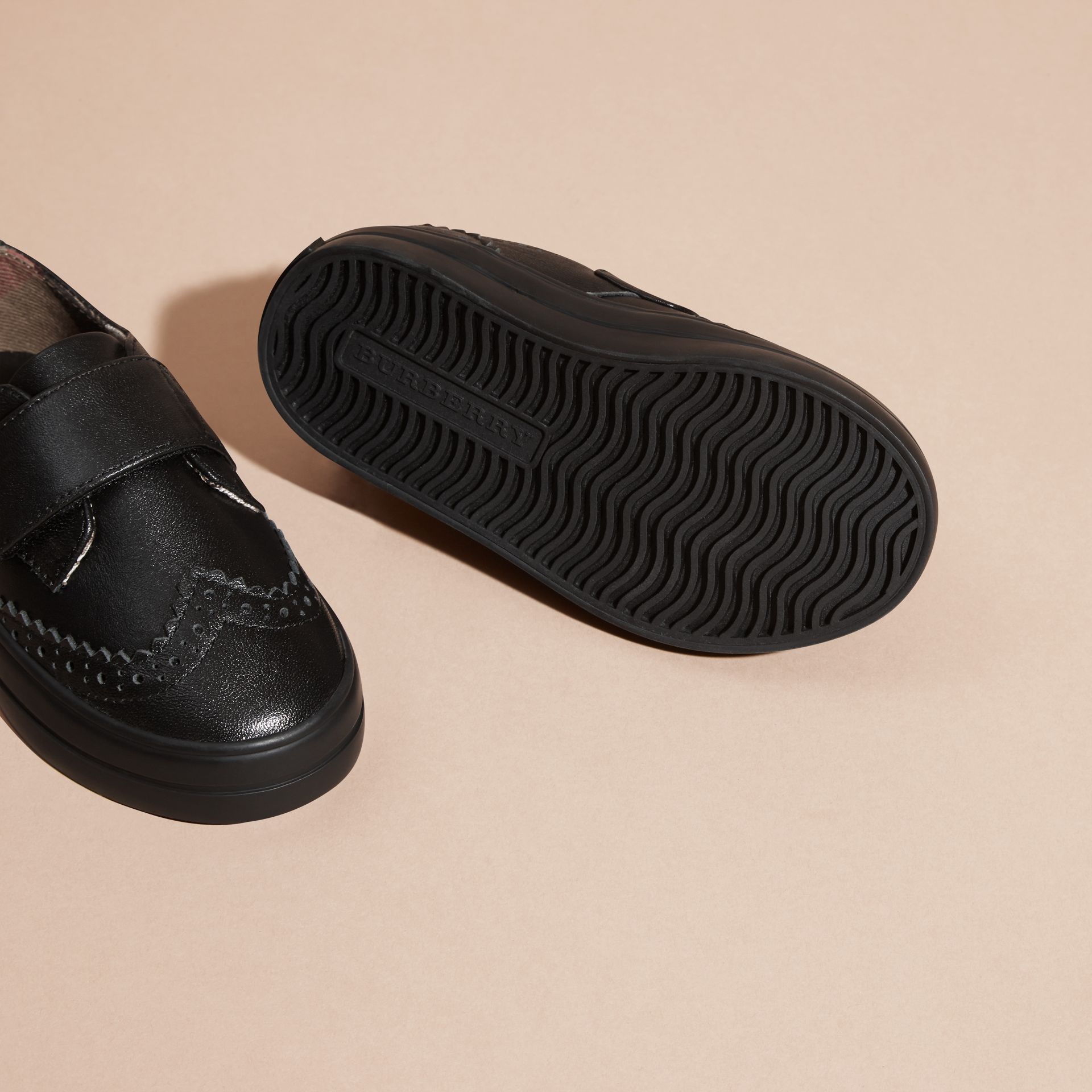 Brogue Detail Leather Trainers in Black - Children | Burberry Australia - gallery image 2