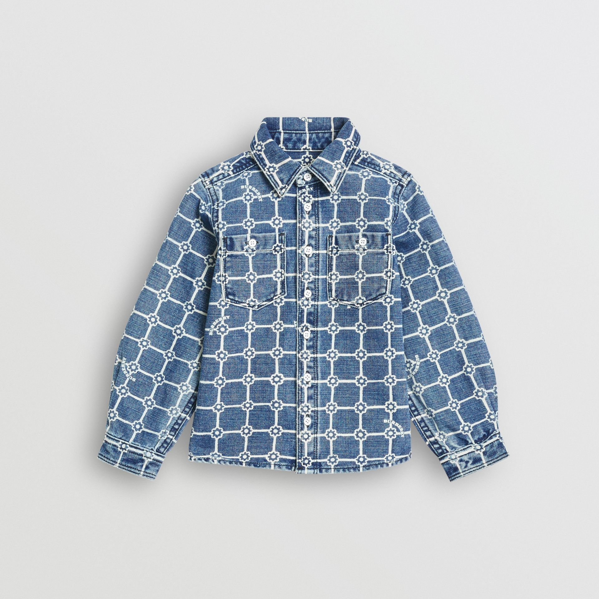 Flower Print Cotton Linen Shirt in Indigo | Burberry - gallery image 0