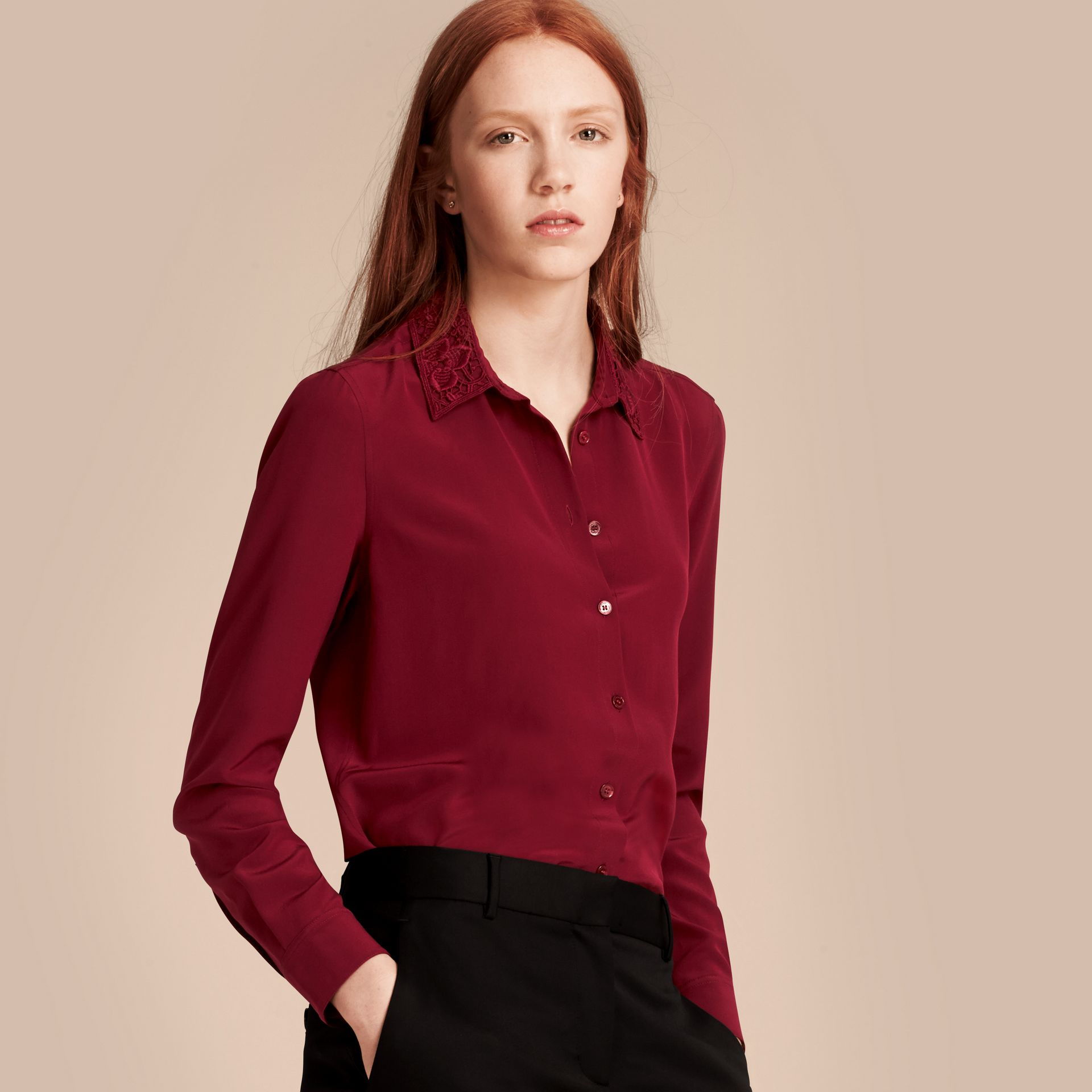 Dark crimson Lace Collar Silk Shirt Dark Crimson - gallery image 7